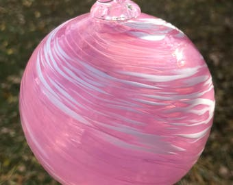 Pink and White Swirl Christmas Ornament