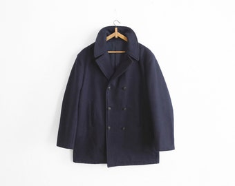 1960/1970s Navy Wool Pea Coat - Made in France