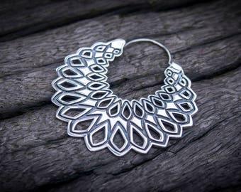 Sterling Silver Mandala Earrings Hoop Earrings Tribal Earrings Gypsy Earrings Boho Earrings Gauge Earrings Gift For Her