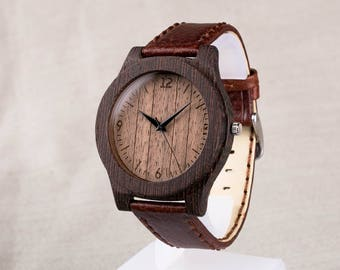 Wooden watch, wenge walnut wood watch. Personalized Wooden Watch. Brown strap. Fathers day, boyfriend gift. Engraving men wood watch.