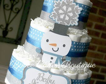 3 Tier Blue and Silver Little Snowman Diaper Cake, Burlap, Polka Dot, Baby It's Cold Outside, Winter Baby Shower Centerpiece, Snowflake