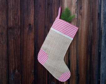 Christmas stocking with red cloth, Christmas stockings DIY, Christmas natural stockings, gift for him, gift for her