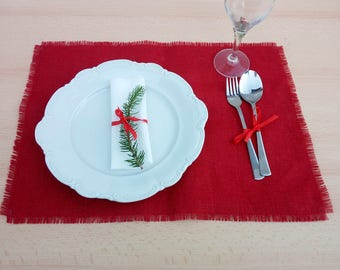 Decorative placemat, decorative place mats holiday, placemats rustic modern,  table decoration table setting Brown Red Ivory Gray