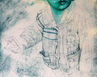 Hear No Evil little Tibet boy by Jain McKay