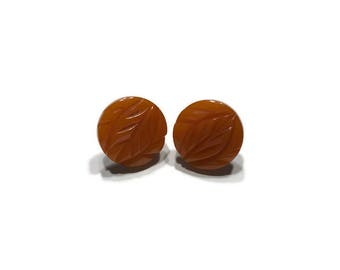 Orange Carved Bakelite Earrings, Vintage 1940s Bakelite Button Earrings, Screw Back Earrings, Costume Jewelry