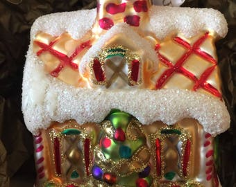 WATERFORD Gingerbread House Ornament Holiday Heirlooms 2001 Box Collectible