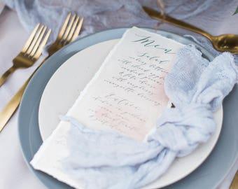4x8 Grey & Ivory Calligraphy Modern Printed Wedding Menu
