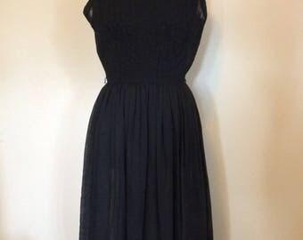 Vintage Sheer Black Dress - M