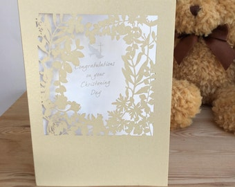 Christening Day Card Paper Cut Congratulations on your Christening Day Ivory Pearl Board