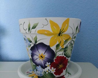 """Hand painted Flower Pot & Matching Saucer: 6"""" Multi colored Floral Garden Design on White Background. *Morning Glorys *Petunias*Lilys"""