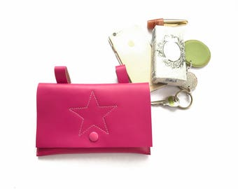 Pink leather funny pack for the moments when you want to have your hands free: Leather hip clutch to hang on your belt or on the belt loops
