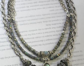 necklace, labradorite necklace, multi strand necklace, grey necklace, bohemian necklace, boho necklace, spring trends, mother's day gift