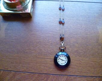 vintage windup pendant watch, art deco watch