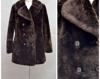 Vintage Jacket, 1970's faux fur pea jacket, Brown fun fur double breasted winter coat, 70's Ladies Outerwear, Fake / Teddy bear fur jacket