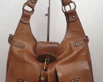 Heavy Leather Bag, Brown Leather Bag, Genuine Leather, Hobo Bag, Vintage Matras Purse, Big Shoulder Bag, Tote Bag With Zipper, Large Tote