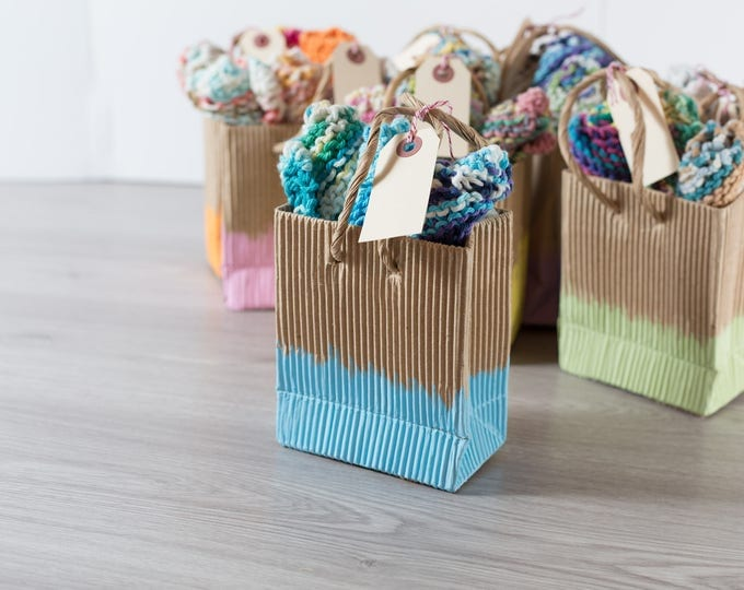 Knitted Dishcloths / Package of 3 Hand-knit Square Cotton Washcloths / Handmade Crochet Cloths in a Colorful Kraft Bag