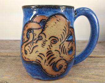 Octopus Mug 16oz - Octopus Art Gift - Kraken Decor - Octopus Tentacle - Blue Ring Octopus - Shark Week -Unique Pottery Mug -Cute Ceramic Mug