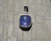 Tanzanite Pendant Bezel Set In Solid Sterling Silver, Tanzania Gemstone, Rare Purple/Blue Tanzanite , TNZ1