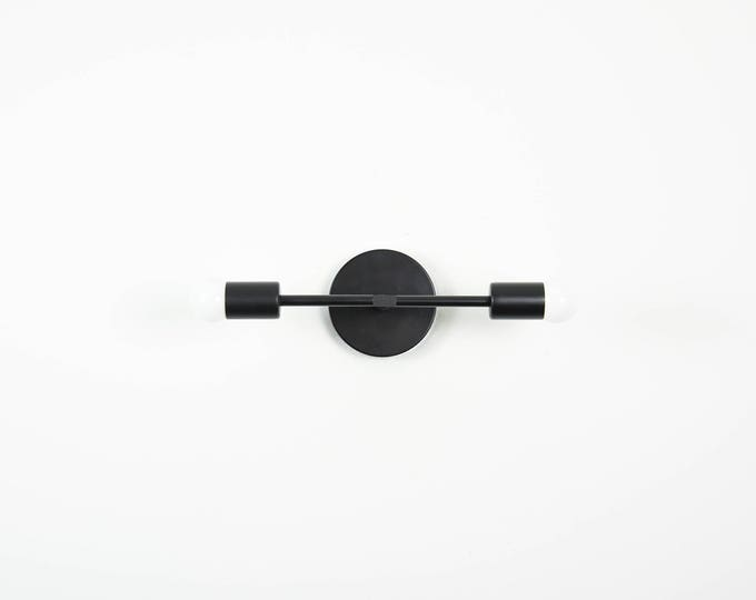 Matte Black Wall Sconce Vanity 2 Bulb Modern Abstract Mid Century Industrial Art Light Bathroom Powder Coated UL Listed