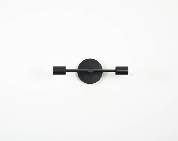 Matte Black Wall Sconce Vanity 2 Bulb Modern Abstract Mid Century  Industrial Art Light Bathroom Powder