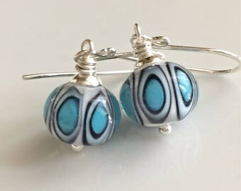 Turquoise and White Glass Earrings  Turquoise Lampwork Glass  Sterling Silver