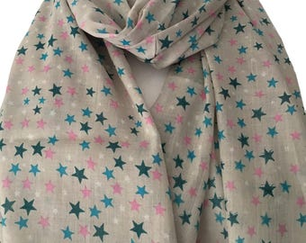 Grey Stars Scarf, 100% Cotton Hand Printed Blue Pink Star Print Scarf, Gray Scarf