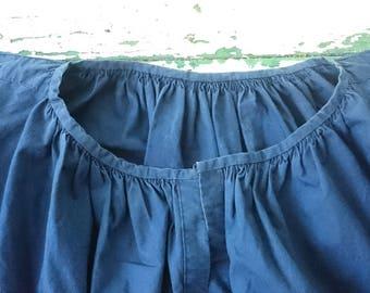 Rare indigo blue French farmer smock/ shirt called biaude XIX from France Provence