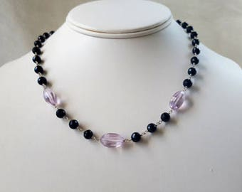 Black Spinel and Orchid Pink Amethyst Rose de France 3 Stone Necklace Gemstone Choker Statement Chain Necklace Elegant Fine Jewelry