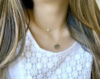 labradorite necklace gold vermeil labradorite necklace labradorite jewelry half moon gemstone necklace cz necklace boho beach wedding gift