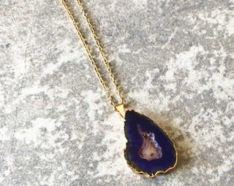 Purple Geode Necklace / Geode  Necklace / Purple Quartz Necklace / Geode Necklace / Quartz Necklace / Agate Necklace / Purple Necklace