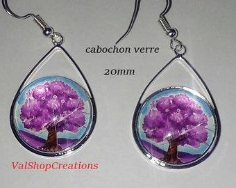 Tree of life purple 20mm cabochon earrings