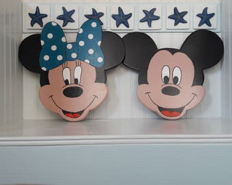 Fun Mickey and Minnie Faces Wall Art