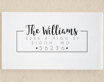 Personalized Custom Family Name Return Address Stamp - Great Wedding, Newlywed, Housewarming, New Home, Gift! Self inked, Pre-inked RE951