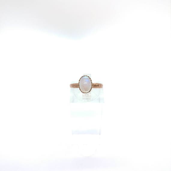 Simple Moonstone Ring | Rainbow Moonstone Ring | Copper Ring Sz 6.5 | Simple White Ring | June Birthstone Ring | Blue Moonstone