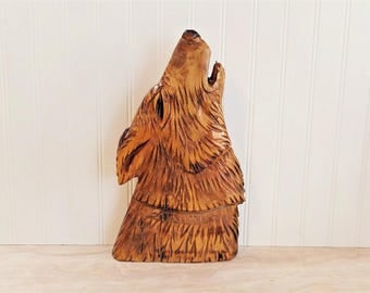 Vintage Wood Wolf Carving Howling Wolf Head Cabin Decor Rustic Decor Wood  Carving Porch Decor Wolf