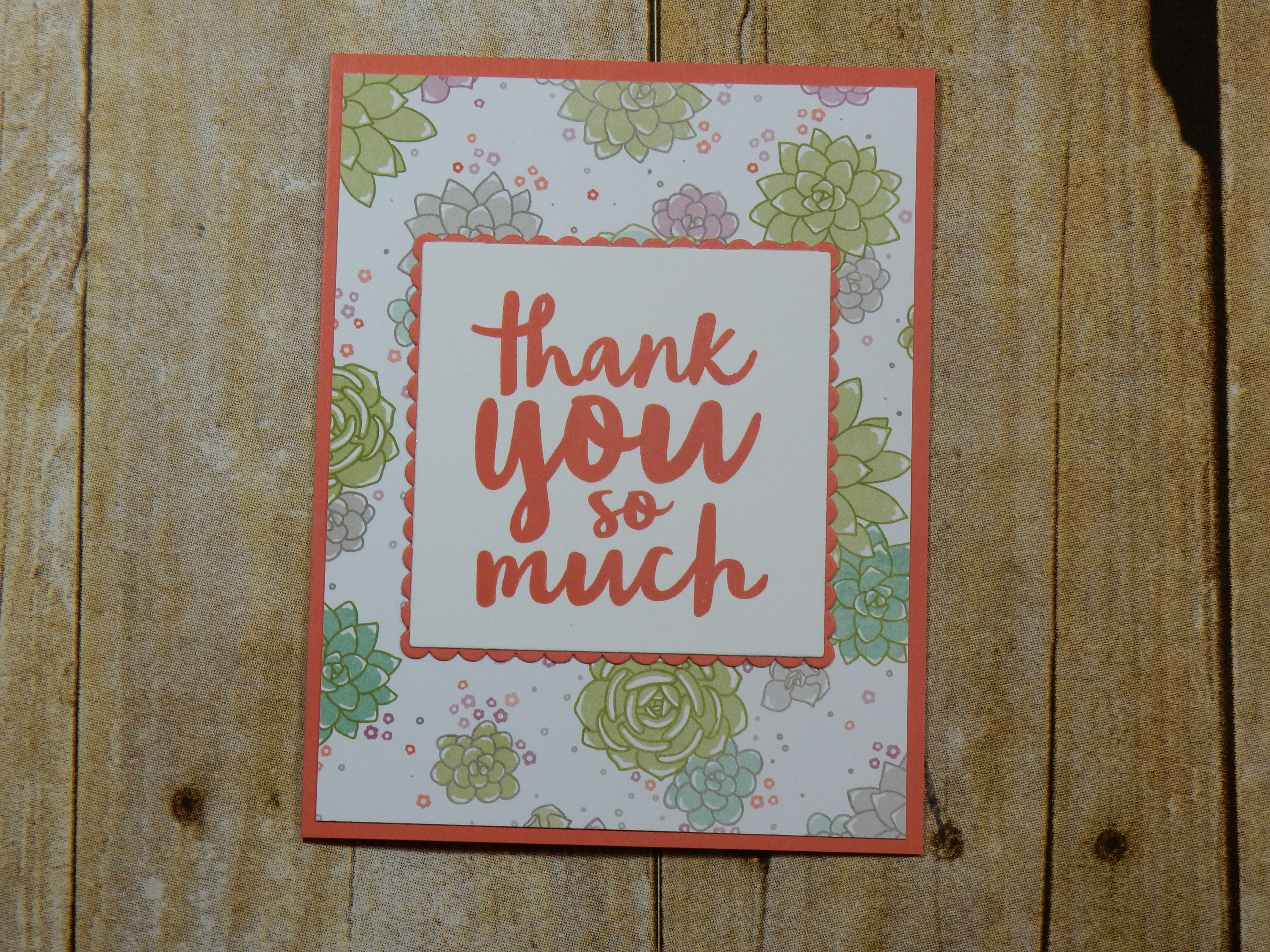 Thank You Greeting Card Handmade Blank Inside Greeting Card