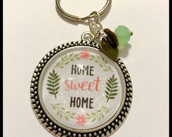 Home Sweet Home - New Home - Lilly Pulitzer - Personalized pendant keychain - floral pendant - atlas necklace - Cabochon