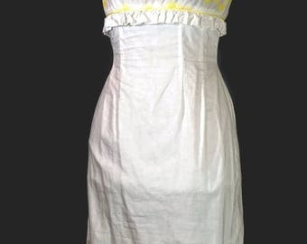 SALE 1950s Cotton Dress. Vintage Helen Whiting White Wiggle Slim Day Dress Size S