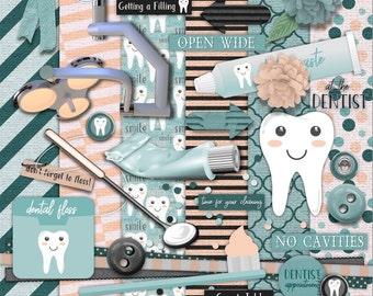 "Digital Download! Open Wide: At the Dentist Digital Scrapbooking Kit  - 300 DPI, 12x12"" papers in .jpg  -  Elements in .png or .jpg"