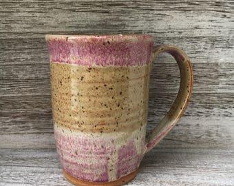 pottery mug coffee mug cream ceramic coffee mug pink coffee mug handmade