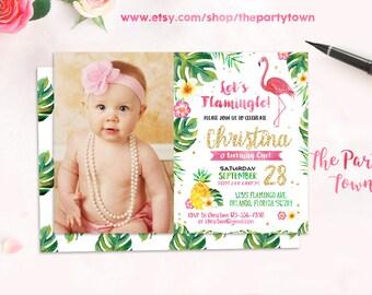 Flamingo Birthday Invitation, Flamingo Invitation, Photo, Hawaiian Luau Party Invitation, Luau Invitation, Tropical Party, Invite Printable
