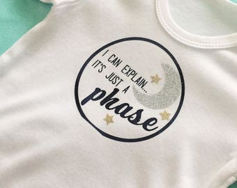 I can explain, its all a phase onesie - funny saying onesie - moon and stars onesie - custom onesie - funny onesie - moon onesie