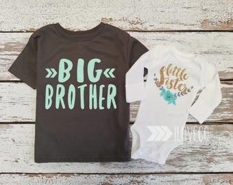 Big Brother Shirt & Glitter Little Sister bodysuit / Big Brother Little Sister set