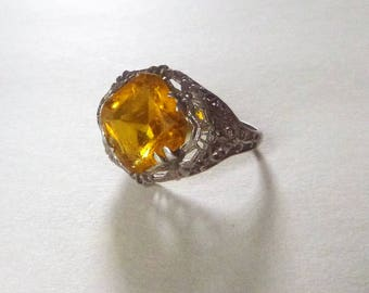 Art Deco 1920s sterling ornate floral filigree yellow uranium glass ring size 6.25