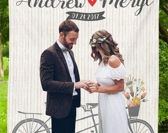 Rustic Wedding Backdrop Bike Decor Custom Photo Booth