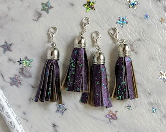 Glitter Tassel Traveller's Notebook Charms. Dark Purple with Silver Accents. Silver Key, Silver Star or Plain. 3 Styles to choose from.
