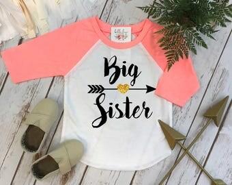 Big Sister Shirt, Big Sister Raglan, Sisters Shirts, Big Sister Arrow, Sister Shirt, Family tees, Big Sister Reveal, Big Sister Announcement