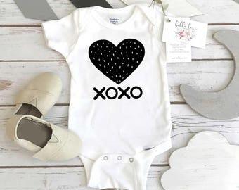 Monochrome Onesie®, XOXO, Black and White Onesie, Monochrome Nursery, Baby Shower Gift,Organic Baby, Scandinavian Baby, Valentine Onesie
