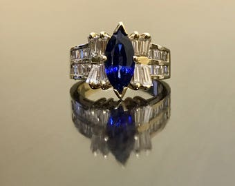 Art Deco 14K Yellow Gold Ceylon Blue Sapphire Diamond Engagement Ring - 14K Art Deco Sapphire Diamond Wedding Ring - Marquise Sapphire Ring