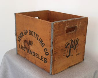 FREE SHIPPING - Seven Up bottling Co Tall Soda Crate - Los Angeles Crate